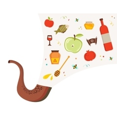 Shofar horn with set of icons over textured vector