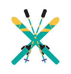 Skiing equipment pole set vector