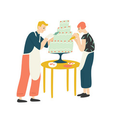 smiling man and woman decorating cake happy boy vector image