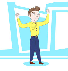 strong young man showing hand muscles over vector image