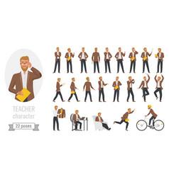 stylish man teacher poses set with cartoon vector image