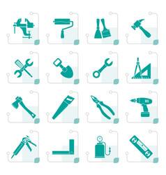 stylized building and construction work tool icons vector image