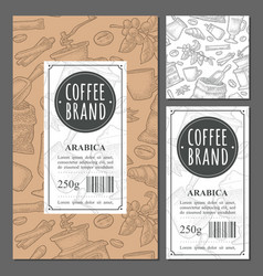 template label coffee with seamless pattern vector image