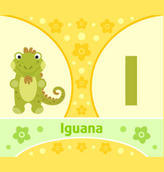 The english alphabet with iguana vector