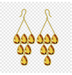 Topaz earrings mockup realistic style vector