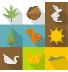 Toy paper icons set flat style vector