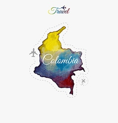 Travel around the world Colombia Watercolor map vector
