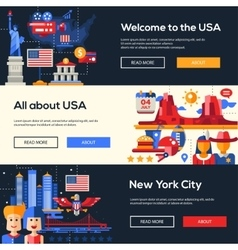 traveling to usa website headers banners set vector image