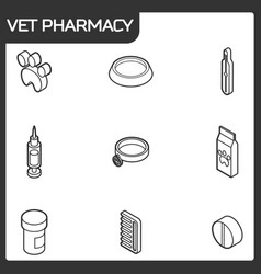 Vet pharmacy outline isometric icons vector