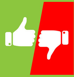 Vote thumbs up icon in red and green fields make vector