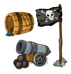 Wooden barrel of gunpowder cannon and pirate flag vector
