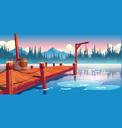 wooden pier on lake pond or river landscape vector image