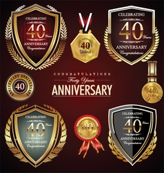40 years anniversary labels vector image vector image