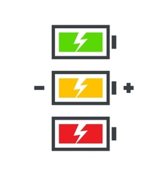 battery power icon set vector image vector image