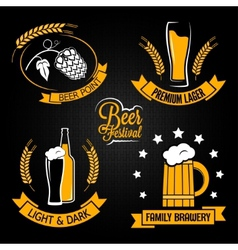 beer glass bottle label set vector image