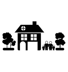black silhouette of family away from home in white vector image vector image