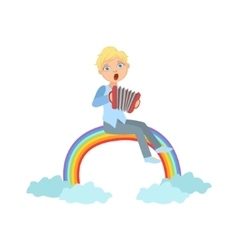 Boy playing accordion with rainbow and clouds vector