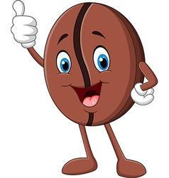 Cartoon funny Coffee bean giving thumb up vector image