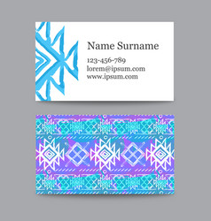 collection of ethnic business cards with a vector image vector image