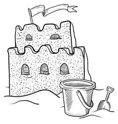 doodle sand castle terrible vector image