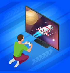 isometric young man plays video game on tv using vector image vector image