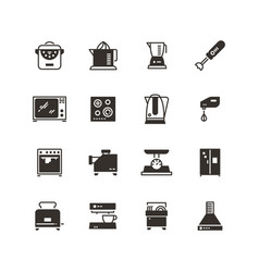 kitchen appliances silhouette icons vector image