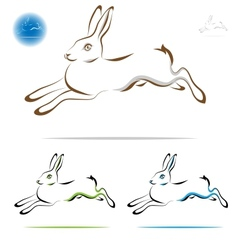 running rabbit outline vector image vector image