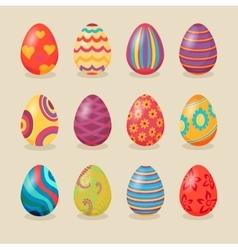 Set of Easter Eggs Design Flat vector image