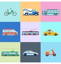 Urban city vehicles icon set vector image vector image
