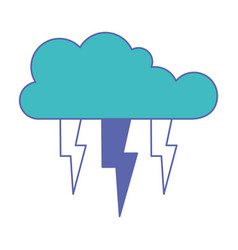 cloud with lightnings in blue and purple color vector image
