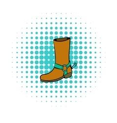Cowboy boot icon comics style vector image