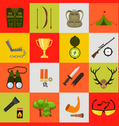 flat color hunting icons set isolated vector image vector image
