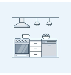 Modern kitchen interior with gas stove and vector image vector image