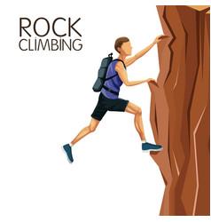 scene man climbing on a rock mountain vector image vector image