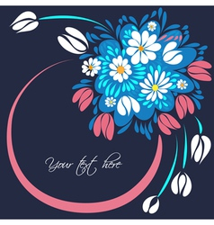 Bouquet of flowers on the dark blue background vector image vector image