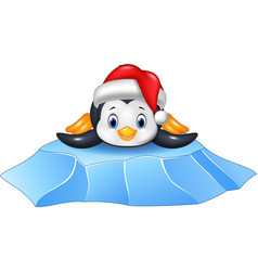 cute baby penguin on ice floe vector image vector image