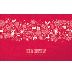 Merry christmas happy new year card pattern deer vector image vector image