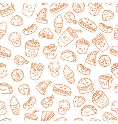 set of cartoon doodle icons junk food vector image