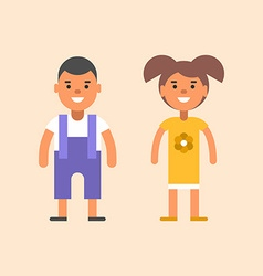 Two children stading apart Boy and girl vector image