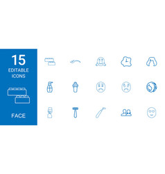 15 face icons vector
