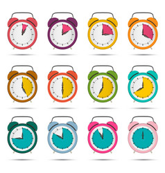 alarm clock set with five to sixty minutes time vector image