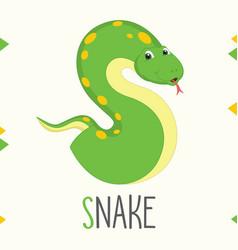 Alphabet letter s and snake vector