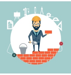 architect building a house brick by brick vector image