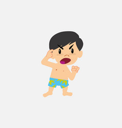Asian boy in swimsuit screams angry in aggressive vector