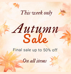 Autumn sale watercolor template fashion social vector