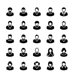 Avatars glyph icons 13 vector