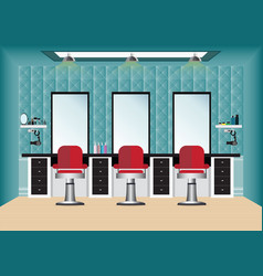 Barber shop with barber chair and mirror vector