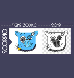 Black zodiac pig scorpio vector