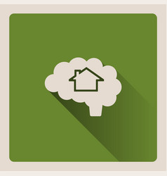 Brain thinking in a house on green background vector
