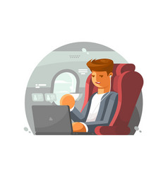 businessman on plane vector image